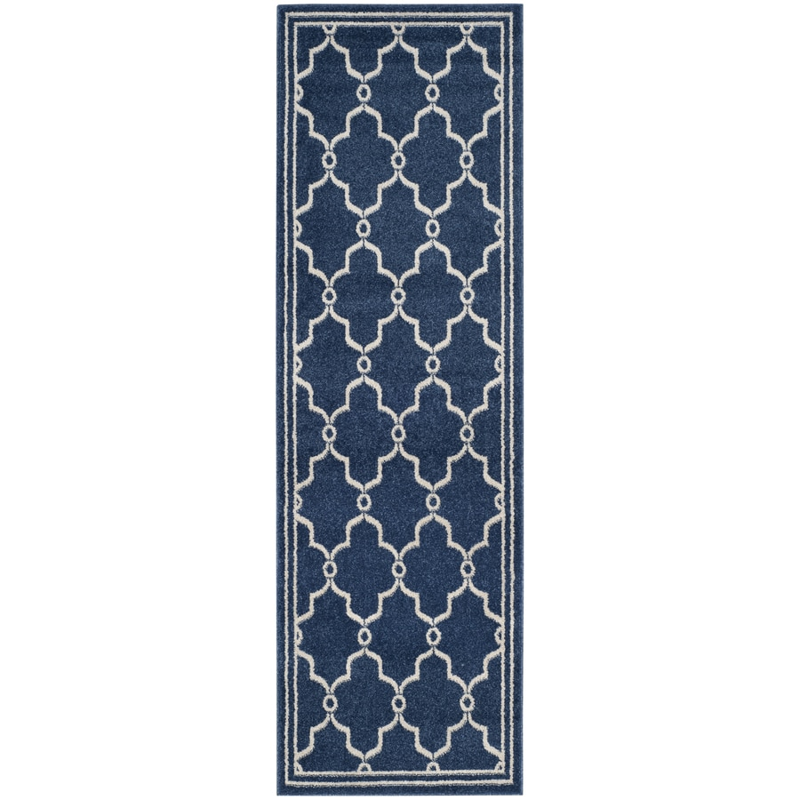 Safavieh Amherst Marion Navy/Beige Rectangular Indoor/Outdoor Machine-Made Moroccan Runner (Common: 2 x 9; Actual: 2.25-ft W x 9-ft L)