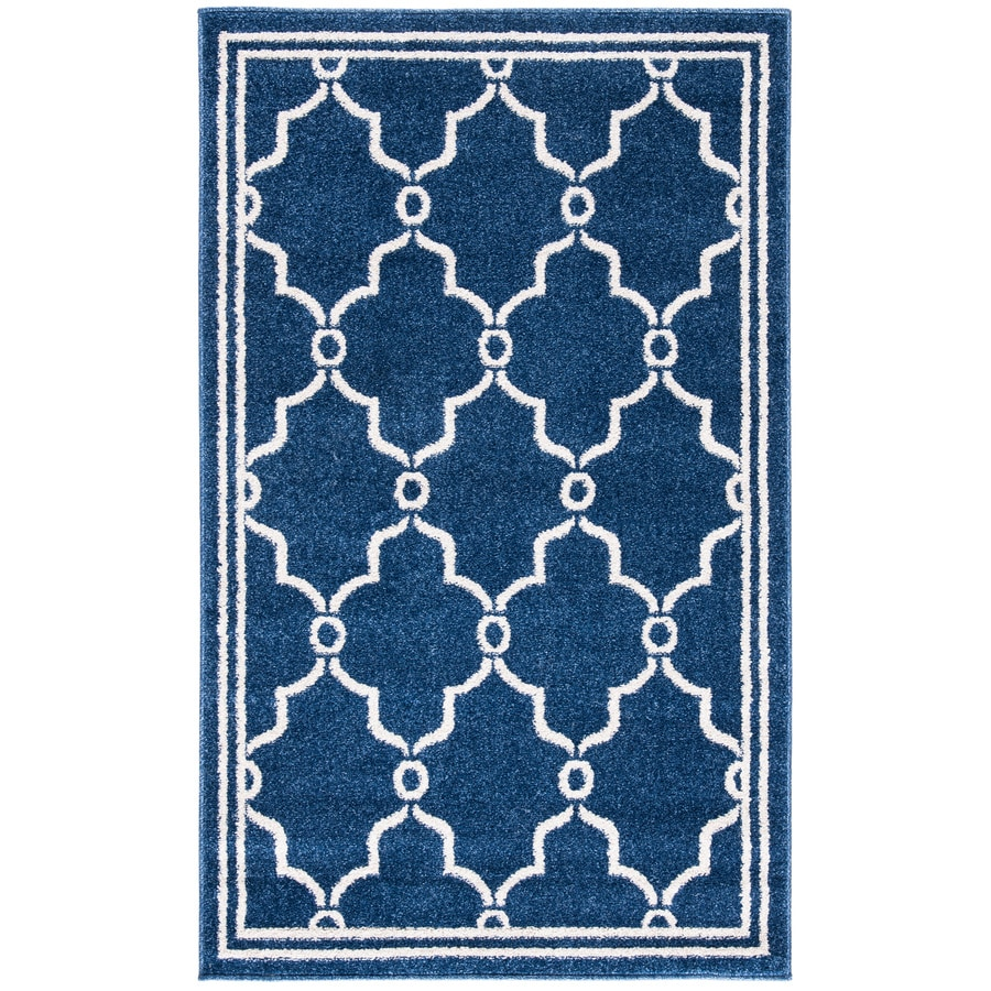 Safavieh Amherst Navy/Beige Rectangular Indoor/Outdoor Machine-Made Moroccan Throw Rug (Common: 3 x 5; Actual: 3-ft W x 5-ft L)