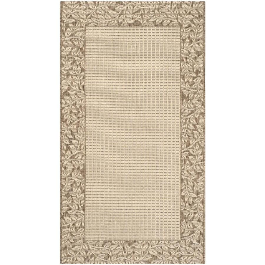 Safavieh Courtyard Checks Natural/Brown Rectangular Indoor/Outdoor Machine-made Coastal Throw Rug (Common: 2 x 5; Actual: 2.58-ft W x 5-ft L)