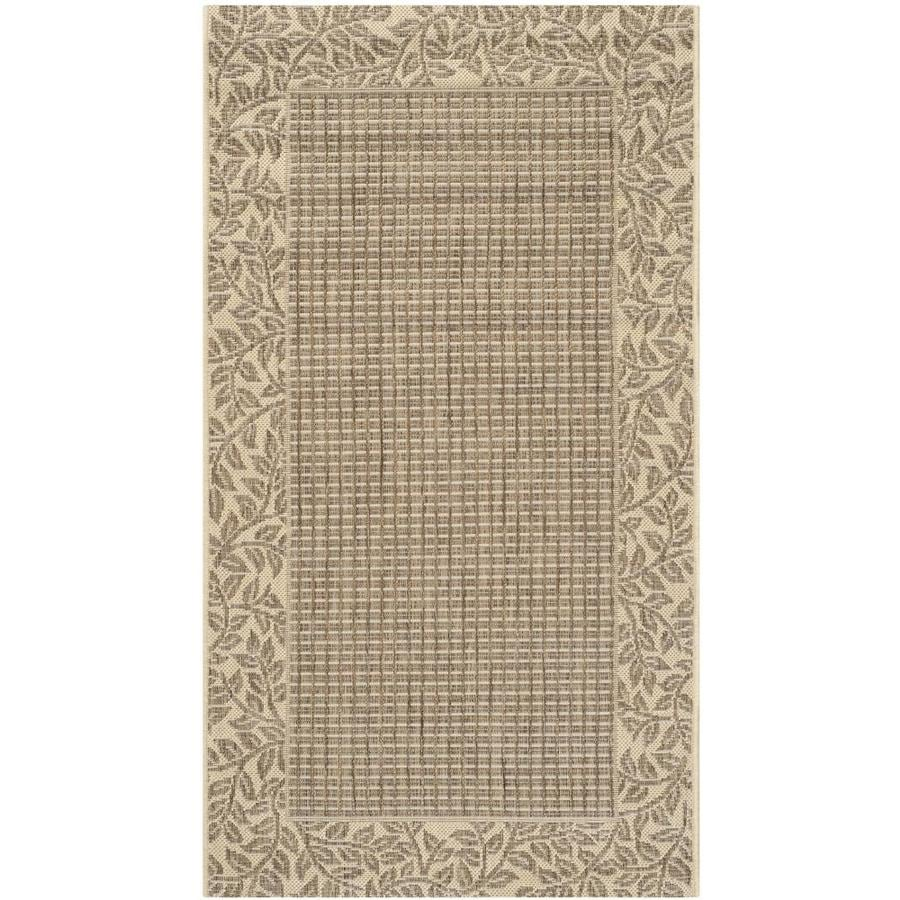 Safavieh Courtyard Checks Brown/Natural Indoor/Outdoor Coastal Area Rug (Common: 4 x 6; Actual: 4-ft W x 5.6-ft L)