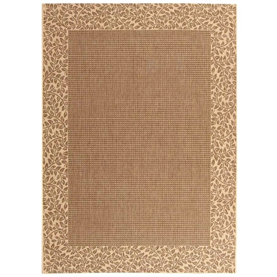 Safavieh Courtyard Checks Brown/Natural Rectangular Indoor/Outdoor Machine-Made Coastal Area Rug (Common: 5 x 7; Actual: 5.25-ft W x 7.58-ft L)