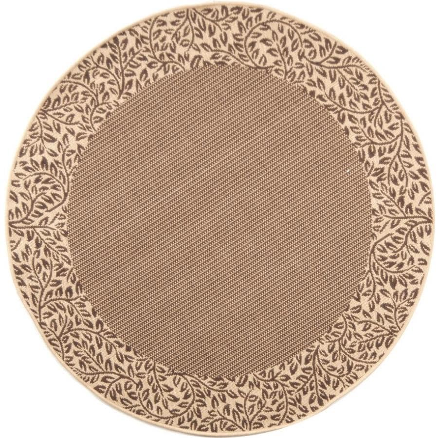 Safavieh Courtyard Checks Brown/Natural Round Indoor/Outdoor Machine-made Coastal Area Rug (Common: 5 x 5; Actual: 5.25-ft W x 5.25-ft L x 5.25-ft Dia)