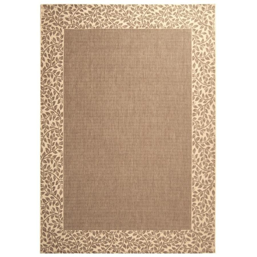 Safavieh Courtyard Brown/Natural Rectangular Indoor/Outdoor Machine-Made Coastal Area Rug (Common: 6 x 9; Actual: 6.58-ft W x 9.5-ft L x 0-ft Dia)