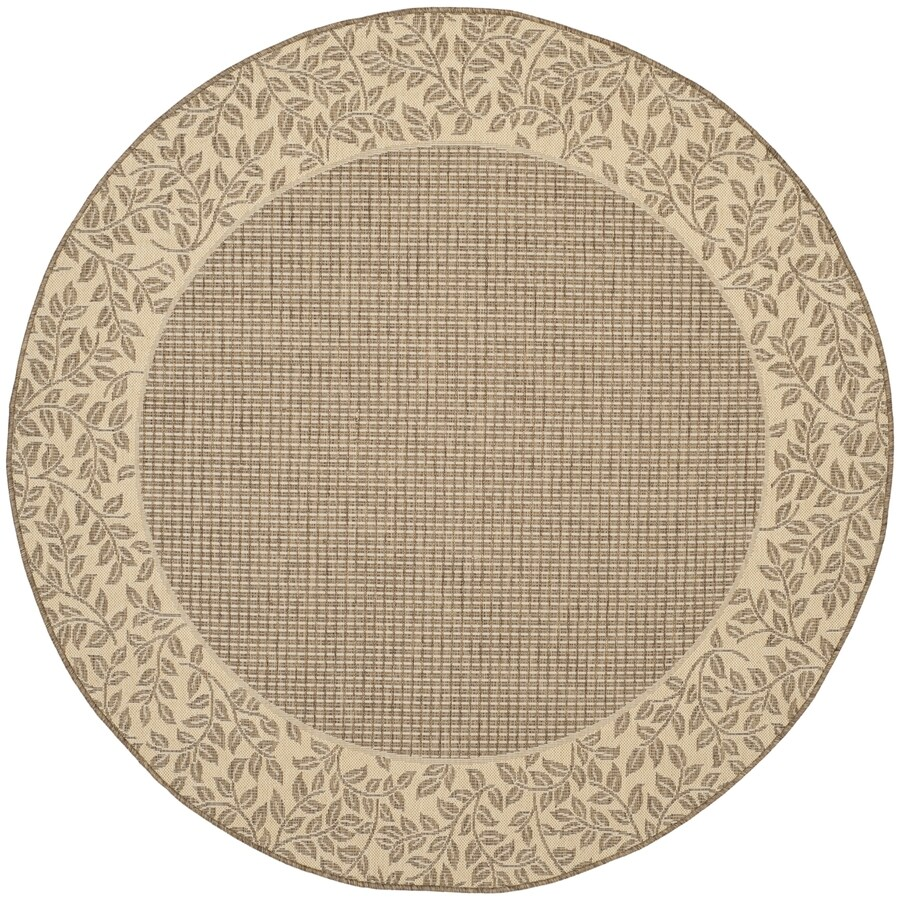 Safavieh Courtyard Brown/Natural Round Indoor/Outdoor Machine-Made Coastal Area Rug (Common: 7 x 7; Actual: 6.58-ft W x 6.5833-ft L x 6.58-ft Dia)