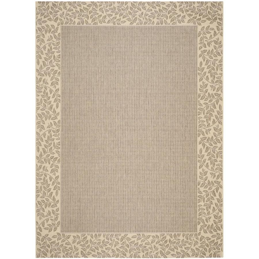 Safavieh Courtyard Checks Brown/Natural Rectangular Indoor/Outdoor Machine-Made Coastal Area Rug (Common: 8 x 11; Actual: 8-ft W x 11.16-ft L)