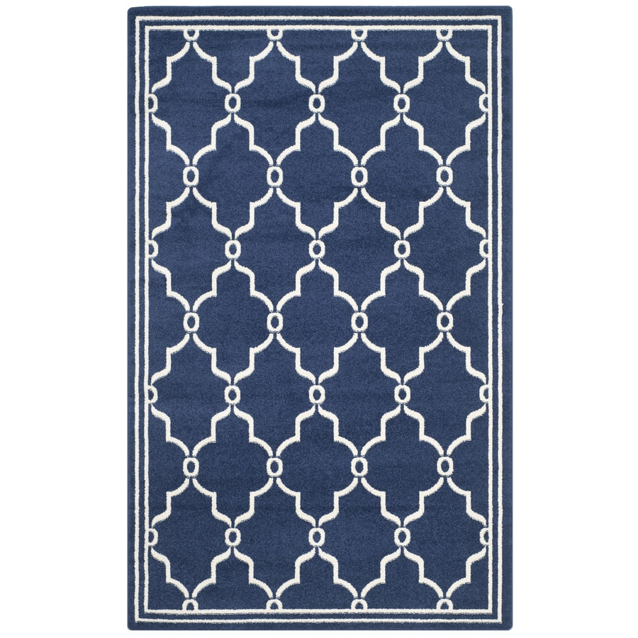 Safavieh Amherst Marion Navy/Beige Rectangular Indoor/Outdoor Machine-Made Moroccan Area Rug (Common: 5 x 8; Actual: 5-ft W x 8-ft L)
