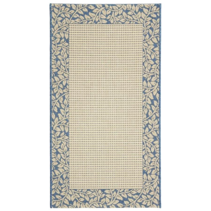 Safavieh Courtyard Natural/Blue Rectangular Indoor/Outdoor Machine-Made Coastal Throw Rug (Common: 3 x 5; Actual: 2.58-ft W x 5-ft L)