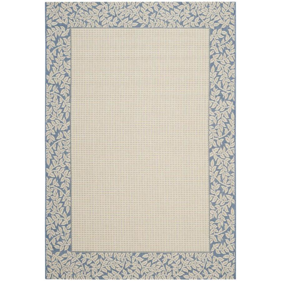 Safavieh Courtyard Natural/Blue Rectangular Indoor/Outdoor Machine-Made Coastal Area Rug (Common: 4 x 6; Actual: 4-ft W x 5.583-ft L)