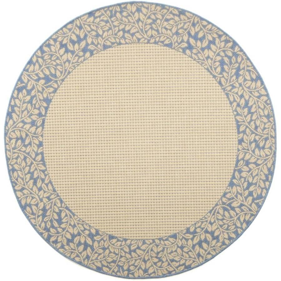 Safavieh Courtyard Checks Natural/Blue Round Indoor/Outdoor Machine-made Coastal Area Rug (Common: 5 x 5; Actual: 5.25-ft W x 5.25-ft L x 5.25-ft Dia)