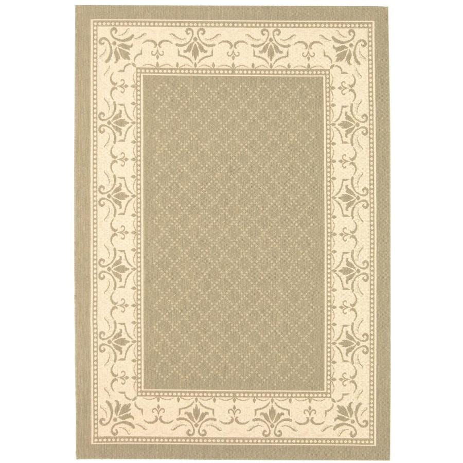 Safavieh Courtyard Olive/Natural Rectangular Indoor/Outdoor Machine-Made Coastal Area Rug (Common: 4 x 6; Actual: 4-ft W x 5.58333333333333-ft L x 0-ft Dia)