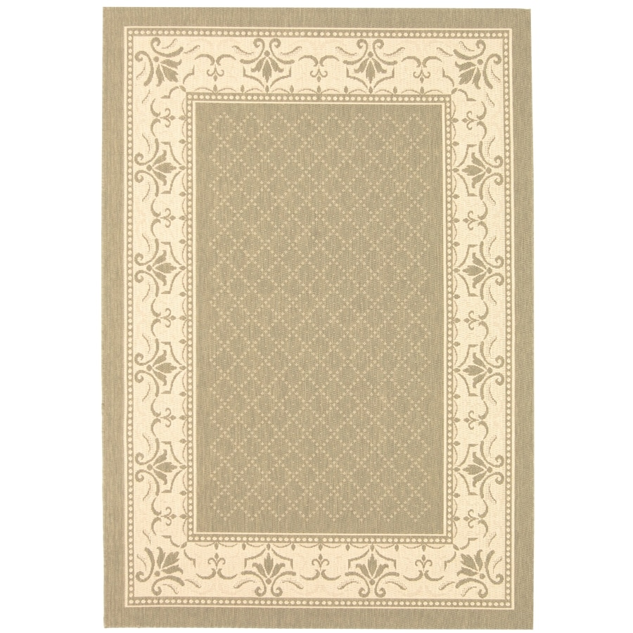 Safavieh Courtyard Olive/Natural Rectangular Indoor/Outdoor Machine-Made Coastal Area Rug (Common: 5 x 8; Actual: 5.25-ft W x 7.58333333333333-ft L x 0-ft Dia)