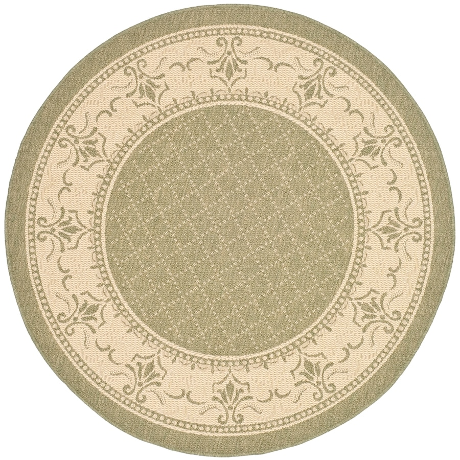 Safavieh Courtyard Olive and Natural Round Indoor and Outdoor Machine-Made Area Rug (Common: 5 x 5; Actual: 63-in W x 63-in L x 0.33-ft Dia)