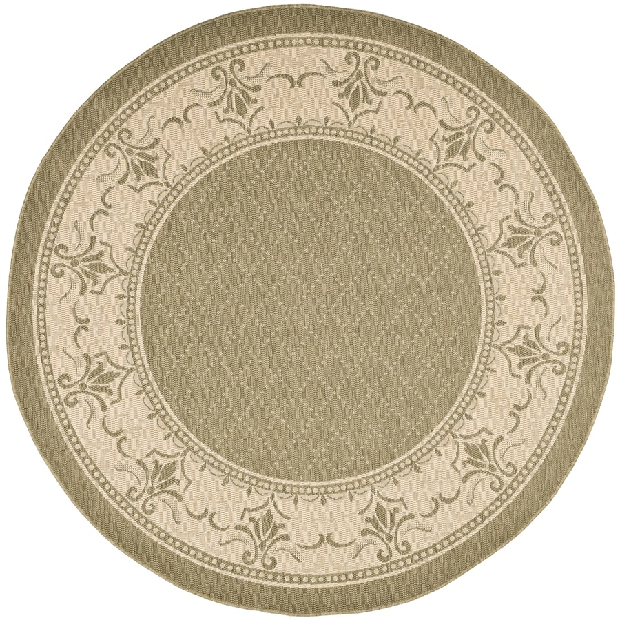 Safavieh Courtyard Olive/Natural Round Indoor/Outdoor Machine-Made Coastal Area Rug (Common: 7 x 7; Actual: 6.58-ft W x 6.58333333333333-ft L x 6.58-ft Dia)