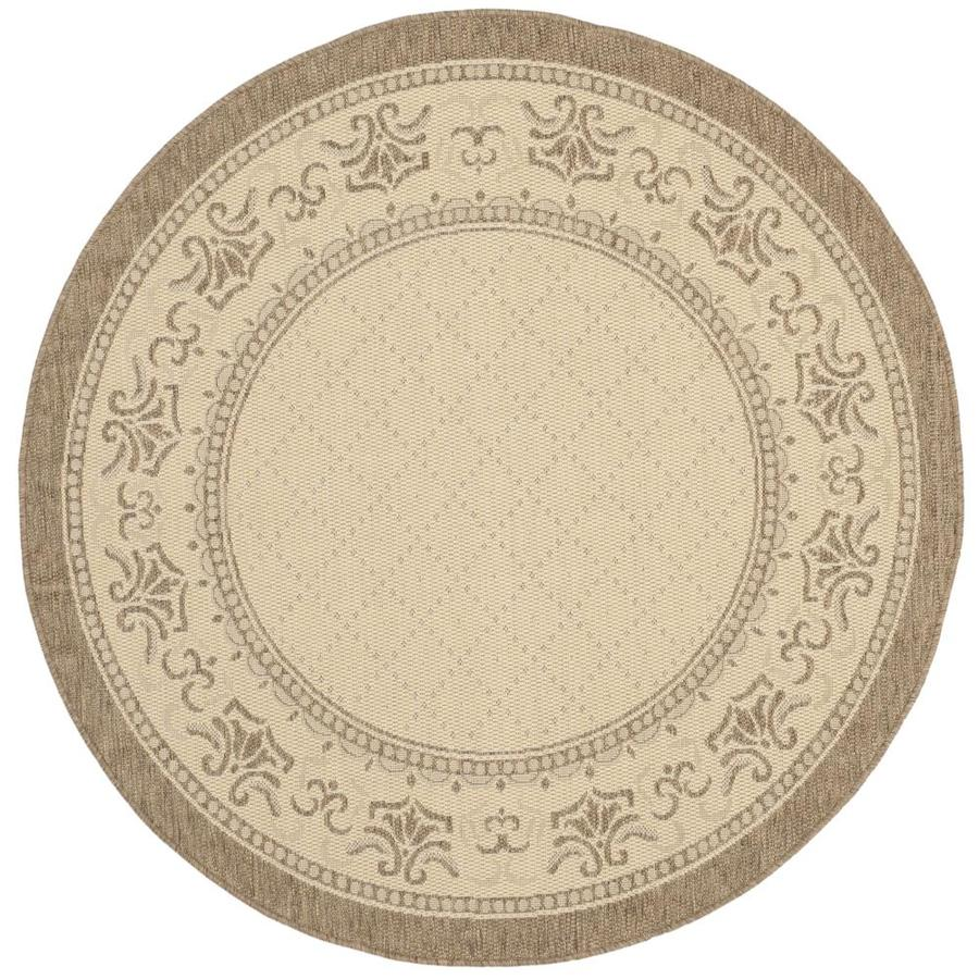 Safavieh Courtyard Trellis Vine Natural/Brown Round Indoor/Outdoor Machine-made Coastal Area Rug (Common: 6 x 6; Actual: 6.58-ft W x 6.58-ft L x 6.5833-ft Dia)