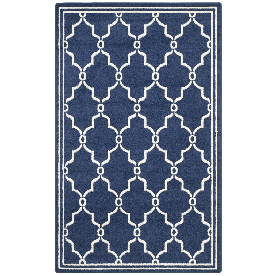Safavieh Amherst Marion Navy/Beige Rectangular Indoor/Outdoor Machine-made Moroccan Area Rug (Common: 6 x 9; Actual: 6-ft W x 9-ft L)
