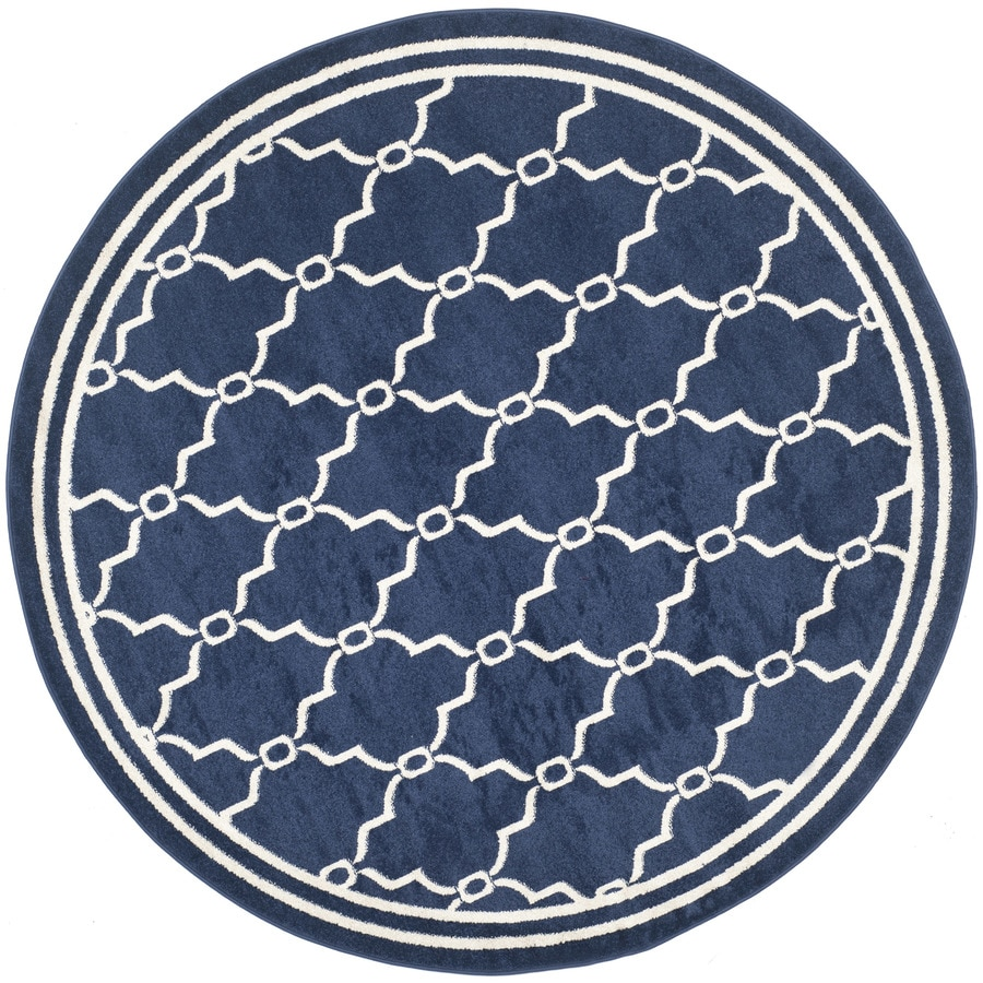 Safavieh Amherst Marion Navy/Beige Round Indoor/Outdoor Machine-Made Moroccan Area Rug (Common: 7 x 7; Actual: 7-ft W x 7-ft L x 7-ft Dia)