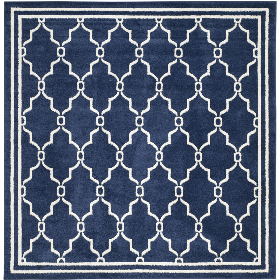 Safavieh Amherst Marion Navy/Beige Square Indoor/Outdoor Machine-Made Moroccan Area Rug (Common: 7 x 7; Actual: 7-ft W x 7-ft L)