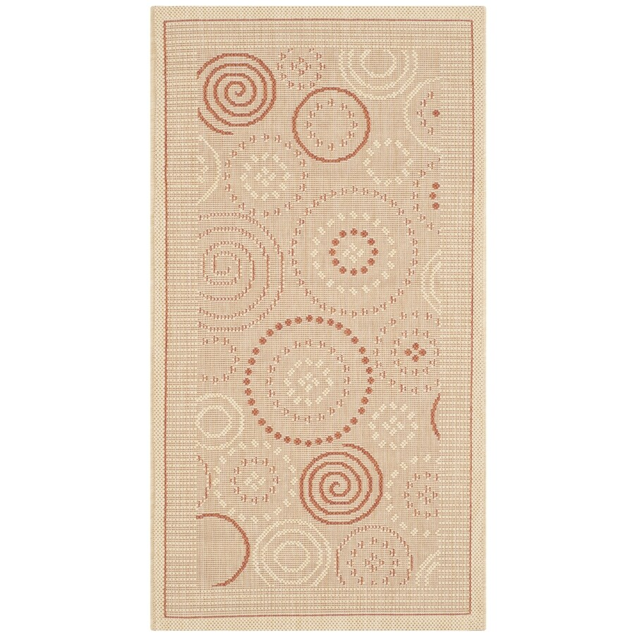 Safavieh Courtyard Natural and Terra Rectangular Indoor and Outdoor Machine-Made Throw Rug (Common: 3 x 5; Actual: 31-in W x 60-in L x 0.33-ft Dia)