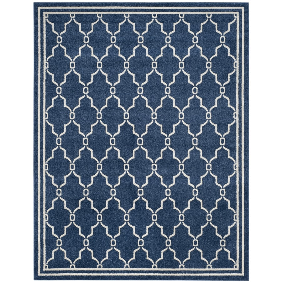 Safavieh Amherst Navy/Beige Rectangular Indoor/Outdoor Machine-Made Area Rug
