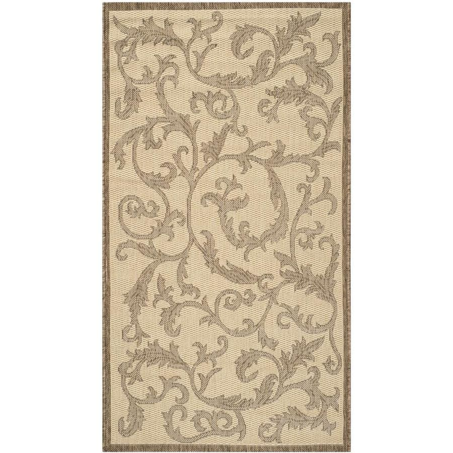 Safavieh Courtyard Vintage Vine Natural/Brown Rectangular Indoor/Outdoor Machine-made Coastal Throw Rug (Common: 2 x 5; Actual: 2.58-ft W x 5-ft L)