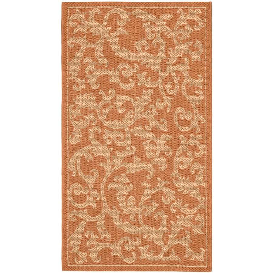 Safavieh Courtyard Vintage Vine Terracotta/Natural Rectangular Indoor/Outdoor Machine-Made Coastal Throw Rug (Common: 2 x 5; Actual: 2.58-ft W x 5-ft L)