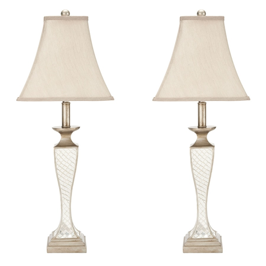 Safavieh 2-Piece Mirrored Lamp Set with Fabric Shades