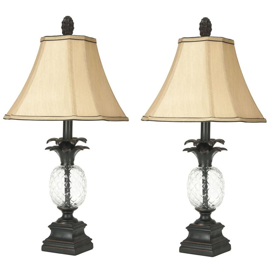 Safavieh Alanna 24-in Black/Clear Rotary Socket Table Lamp with Fabric Shade (Set of 2)