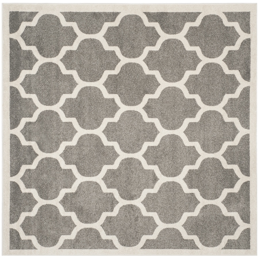 Safavieh Amherst Barret Dark Gray/Beige Square Indoor/Outdoor Moroccan Area Rug (Common: 7 x 7; Actual: 6.6-ft W x 6.6-ft L)
