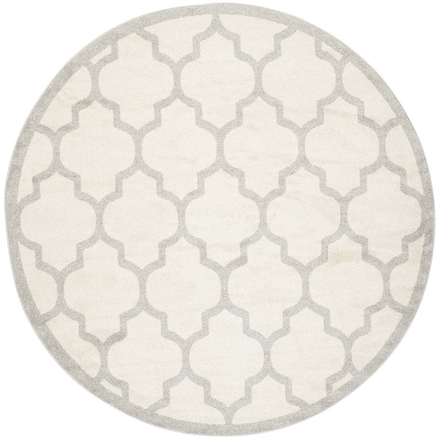 Safavieh Amherst Barret Beige/Light Gray Round Indoor/Outdoor Machine-Made Moroccan Area Rug (Common: 7 x 7; Actual: 7-ft W x 7-ft L x 7-ft Dia)