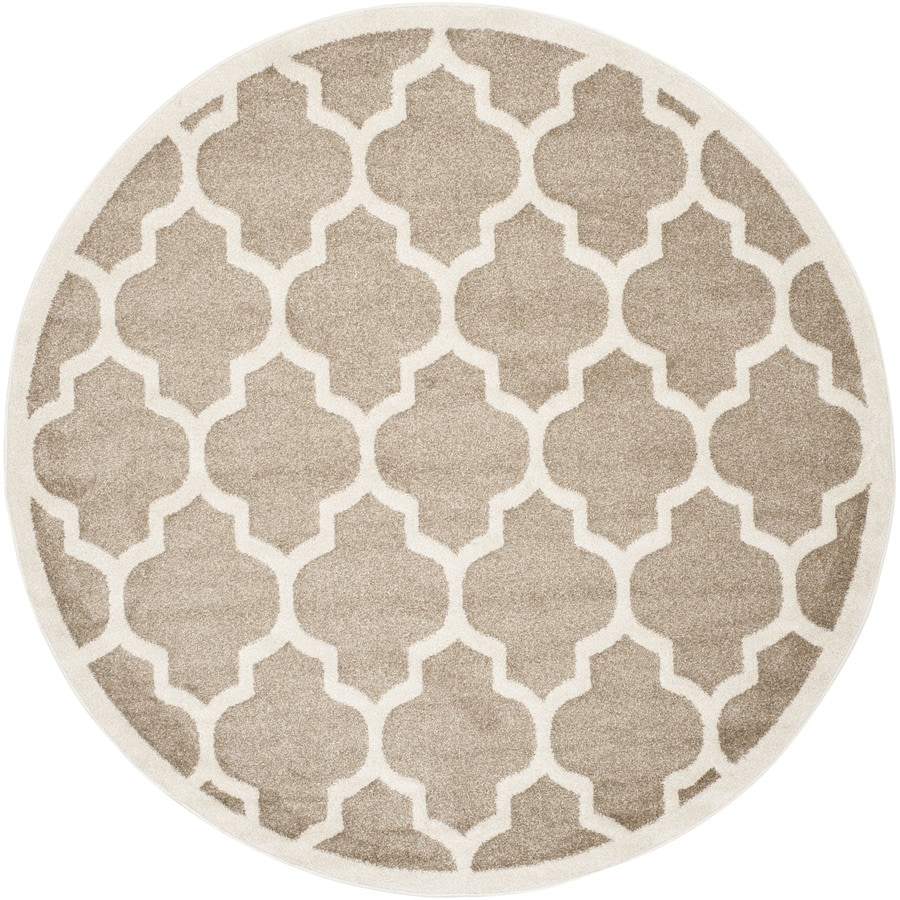 Safavieh Amherst Barret Wheat/Beige Round Indoor/Outdoor Machine-Made Moroccan Area Rug (Common: 7 x 7; Actual: 7-ft W x 7-ft L x 7-ft Dia)