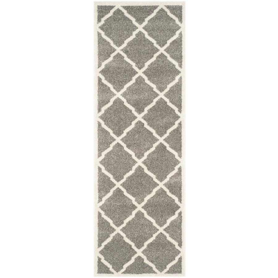 Safavieh Amherst Lowell Dark Gray/Beige Rectangular Indoor/Outdoor Machine-Made Moroccan Runner (Common: 2 x 9; Actual: 2.25-ft W x 9-ft L)