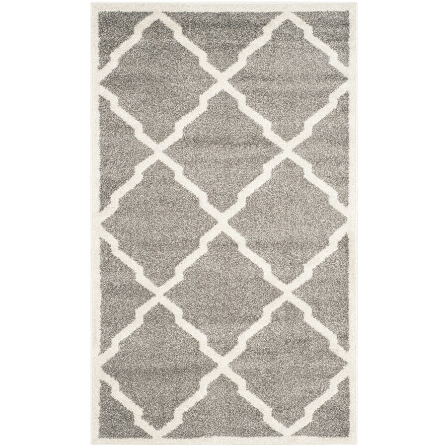 Safavieh Amherst Lowell Dark Gray/Beige Indoor/Outdoor Moroccan Throw Rug (Common: 3 x 5; Actual: 3-ft W x 5-ft L)