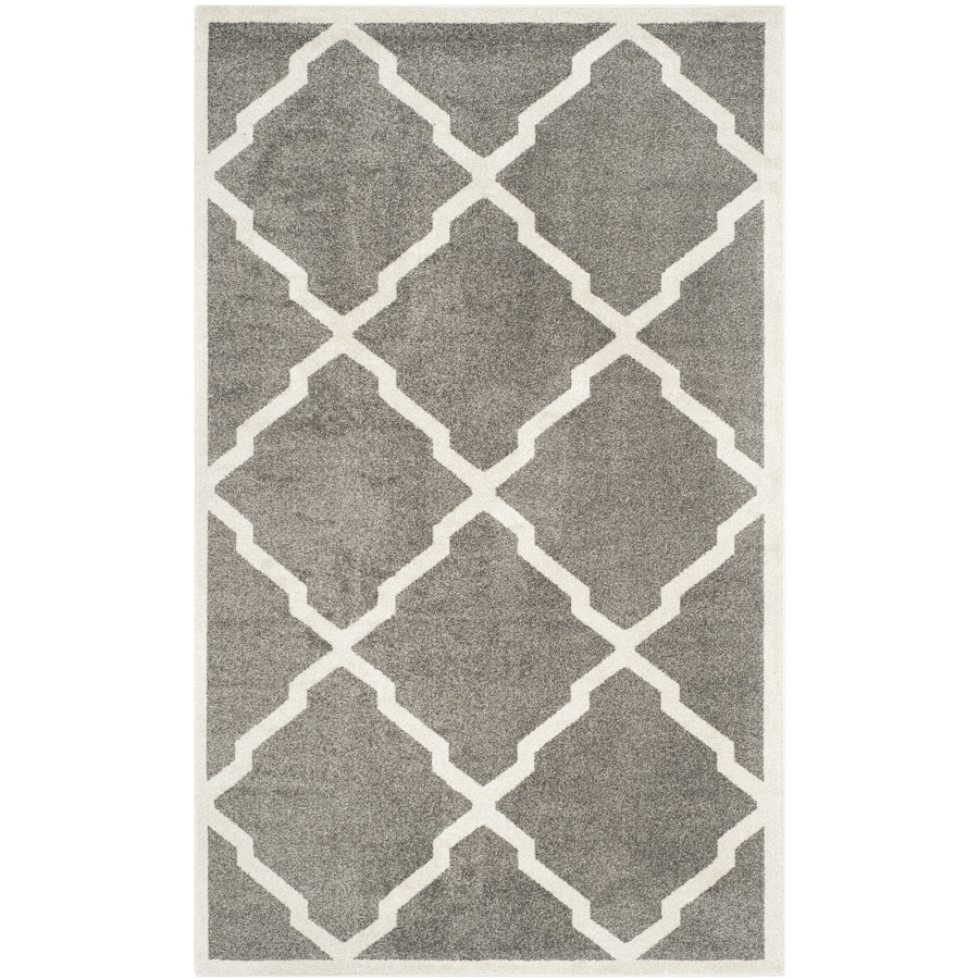 Safavieh Amherst Dark Gray/Beige Rectangular Indoor/Outdoor Machine-Made Moroccan Area Rug (Common: 4 x 6; Actual: 4-ft W x 6-ft L)