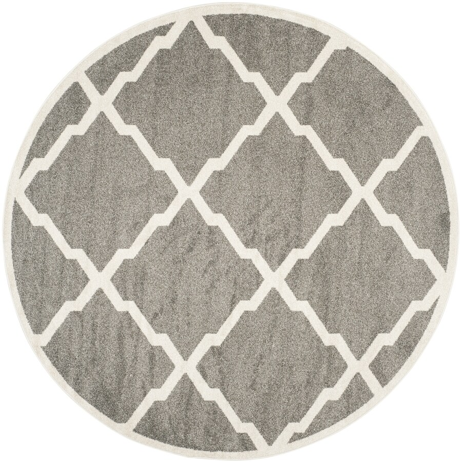 Safavieh Amherst Dark Gray/Beige Round Indoor/Outdoor Machine-Made Moroccan Area Rug (Common: 7 x 7; Actual: 7-ft W x 7-ft L x 7-ft dia)