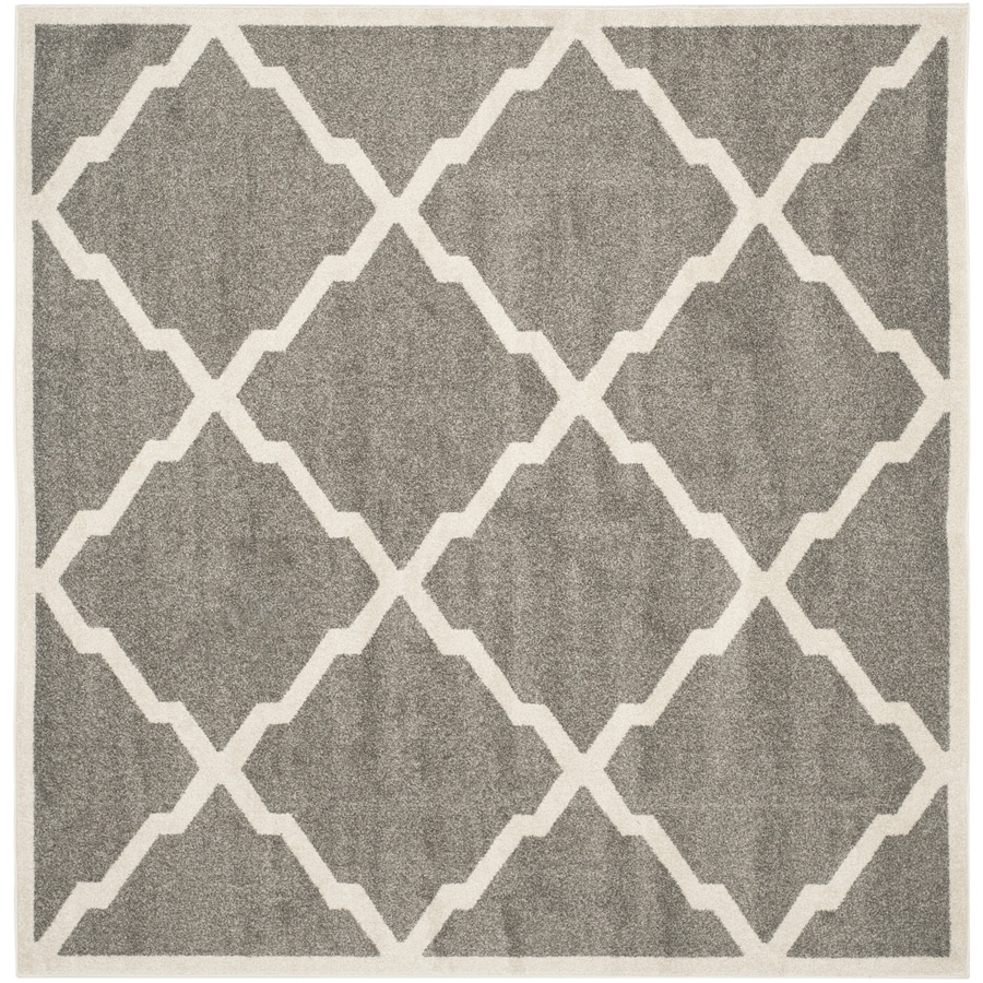 Safavieh Amherst Lowell Dark Gray/Beige Square Indoor/Outdoor Machine-Made Moroccan Area Rug (Common: 7 x 7; Actual: 7-ft W x 7-ft L)