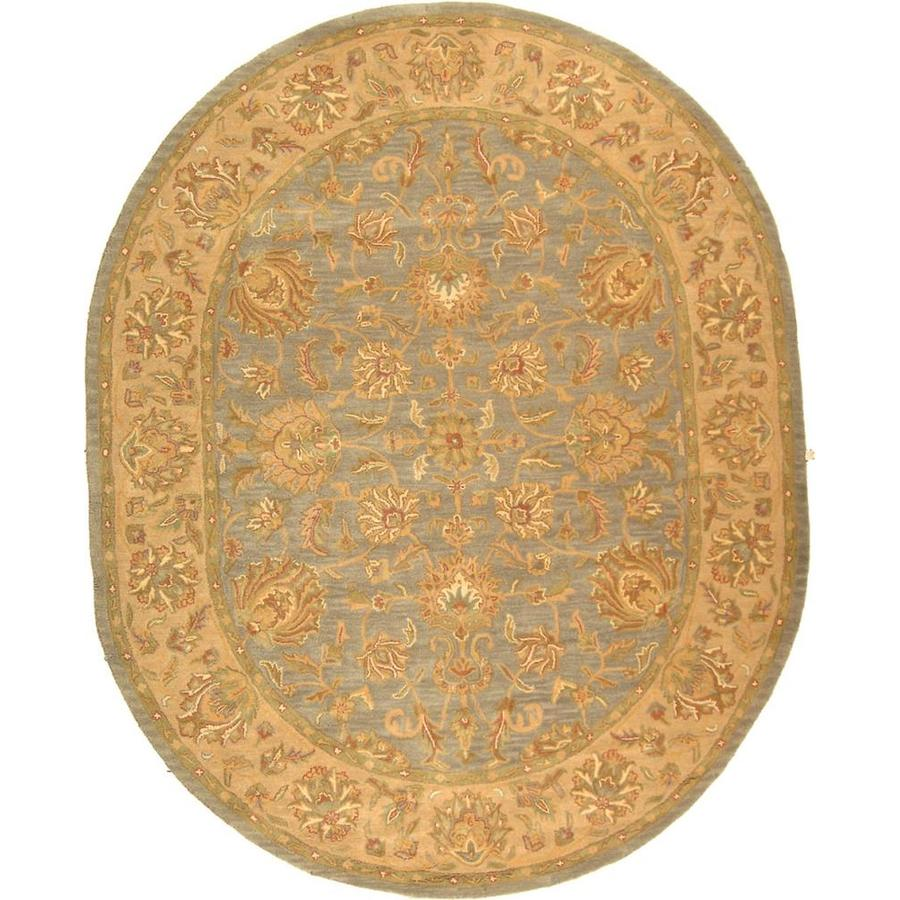 Safavieh Heritage Kavili 8 X 10 Blue Beige Oval Floral Botanical Oriental Handcrafted Area Rug In The Rugs Department At Lowes Com