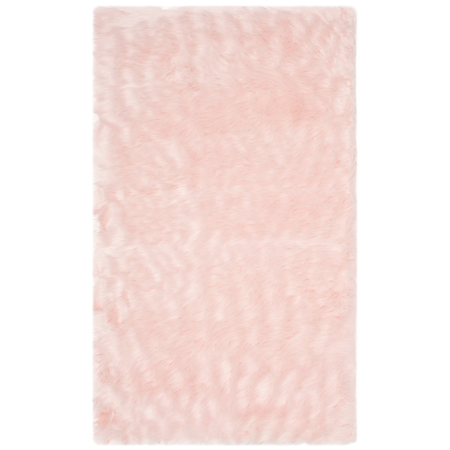 Safavieh Faux Sheep Skin Patras 3 X 5 Pink Indoor Solid Farmhouse Cottage Throw Rug In The Rugs Department At Lowes Com