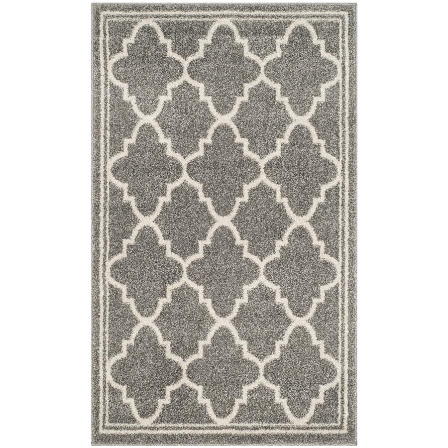Safavieh Amherst Dark Gray/Beige Rectangular Indoor/Outdoor Machine-Made Moroccan Throw Rug (Common: 2 x 4; Actual: 2.5-ft W x 4-ft L)