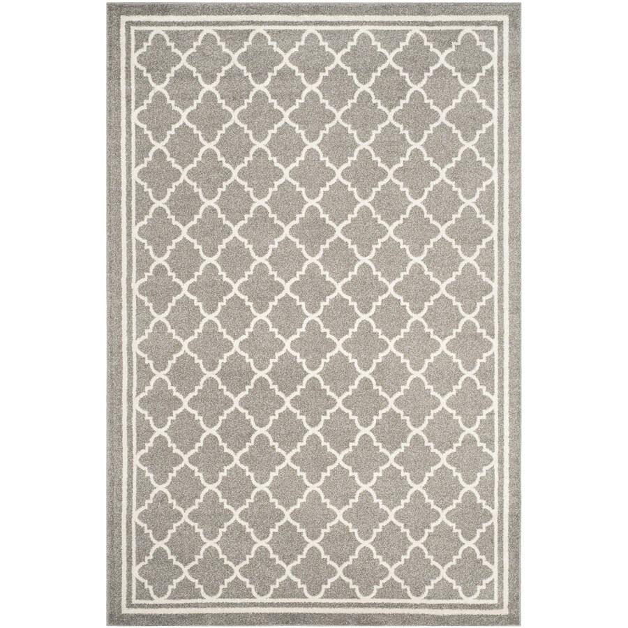 Safavieh Amherst Kelly Dark Gray/Beige Rectangular Indoor/Outdoor Machine-made Moroccan Area Rug (Common: 6 x 9; Actual: 6-ft W x 9-ft L)
