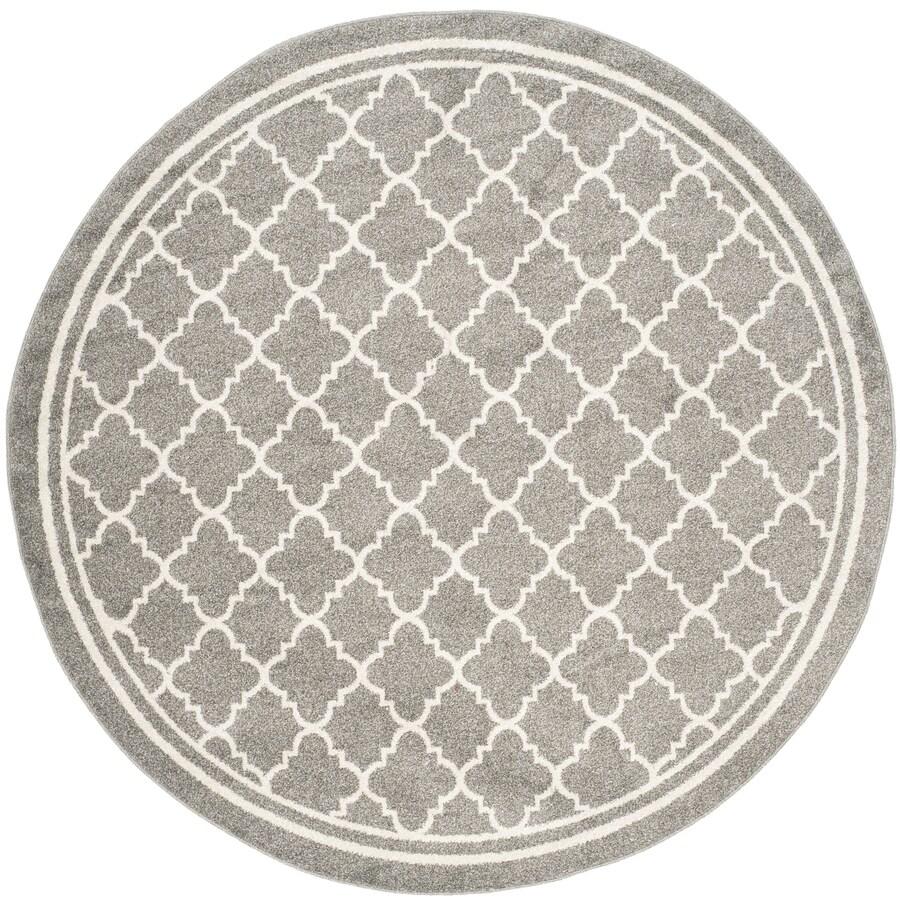 Safavieh Amherst Kelly Dark Gray/Beige Round Indoor/Outdoor Moroccan Area Rug (Common: 7 x 7; Actual: 7-ft W x 7-ft L x 7-ft dia)