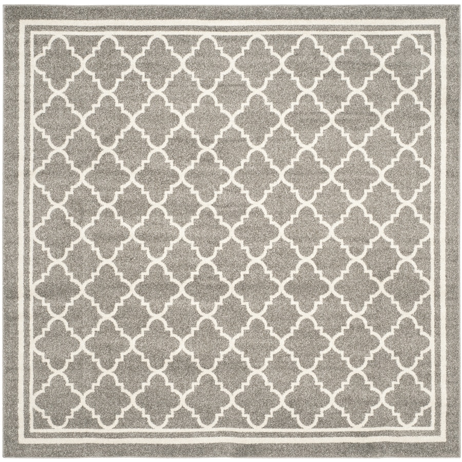 Safavieh Amherst Kelly Dark Gray/Beige Square Indoor/Outdoor Machine-Made Moroccan Area Rug (Common: 7 x 7; Actual: 7-ft W x 7-ft L)