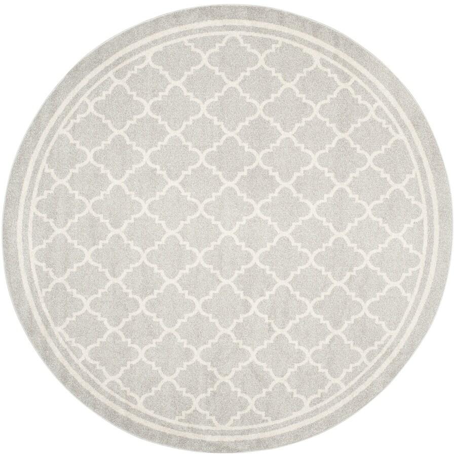 Safavieh Amherst Gray/Beige Round Indoor/Outdoor Machine-Made Moroccan Area Rug (Common: 7 x 7; Actual: 7-ft W x 7-ft L x 7-ft dia)