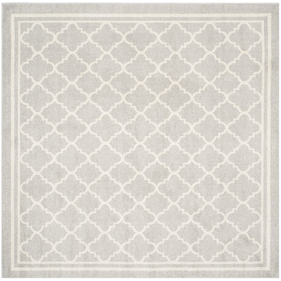 Safavieh Amherst Kelly Gray/Beige Square Indoor/Outdoor Machine-Made Moroccan Area Rug (Common: 7 x 7; Actual: 7-ft W x 7-ft L)
