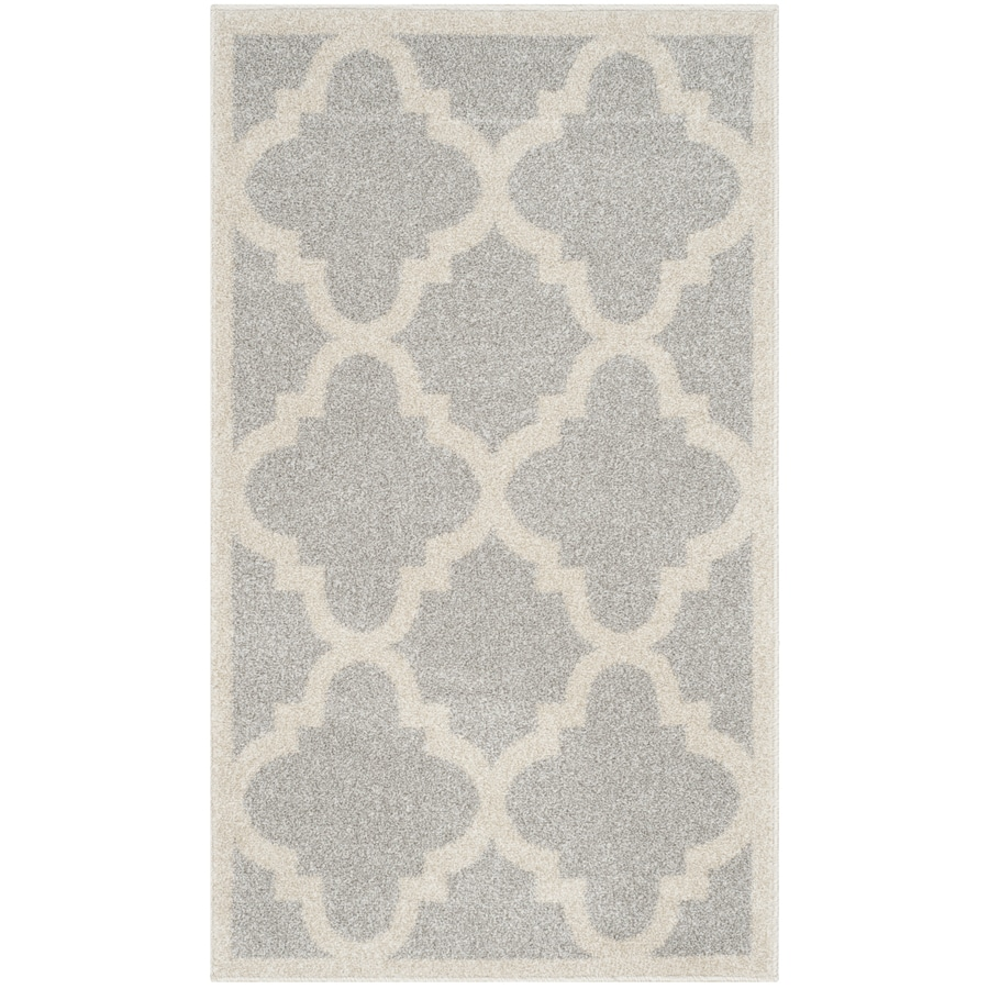Safavieh Amherst Pompey Gray/Beige Rectangular Indoor/Outdoor Machine-Made Moroccan Throw Rug (Common: 2 x 4; Actual: 2.5-ft W x 4-ft L)