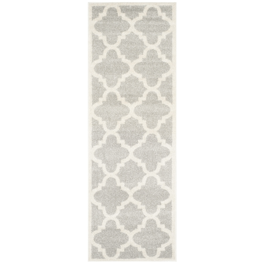 Safavieh Amherst Gray/Beige Rectangular Indoor/Outdoor Machine-Made Moroccan Runner (Common: 2.3 x 9; Actual: 2.25-ft W x 9-ft L)