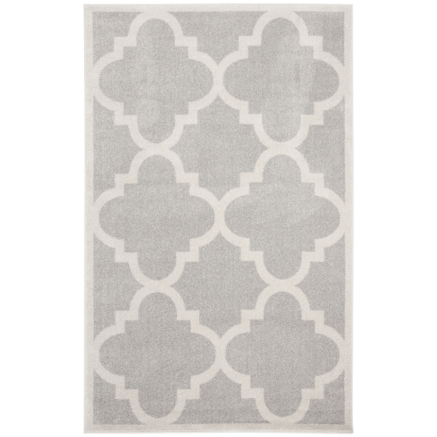 Safavieh Amherst Pompey Gray/Beige Rectangular Indoor/Outdoor Machine-Made Moroccan Area Rug (Common: 4 x 6; Actual: 4-ft W x 6-ft L)