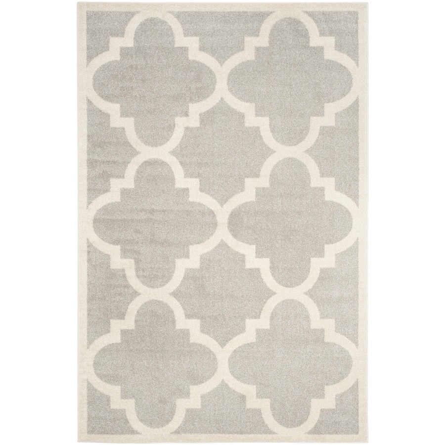 Safavieh Amherst Pompey Gray/Beige Rectangular Indoor/Outdoor Machine-Made Moroccan Area Rug (Common: 6 x 9; Actual: 6-ft W x 9-ft L)