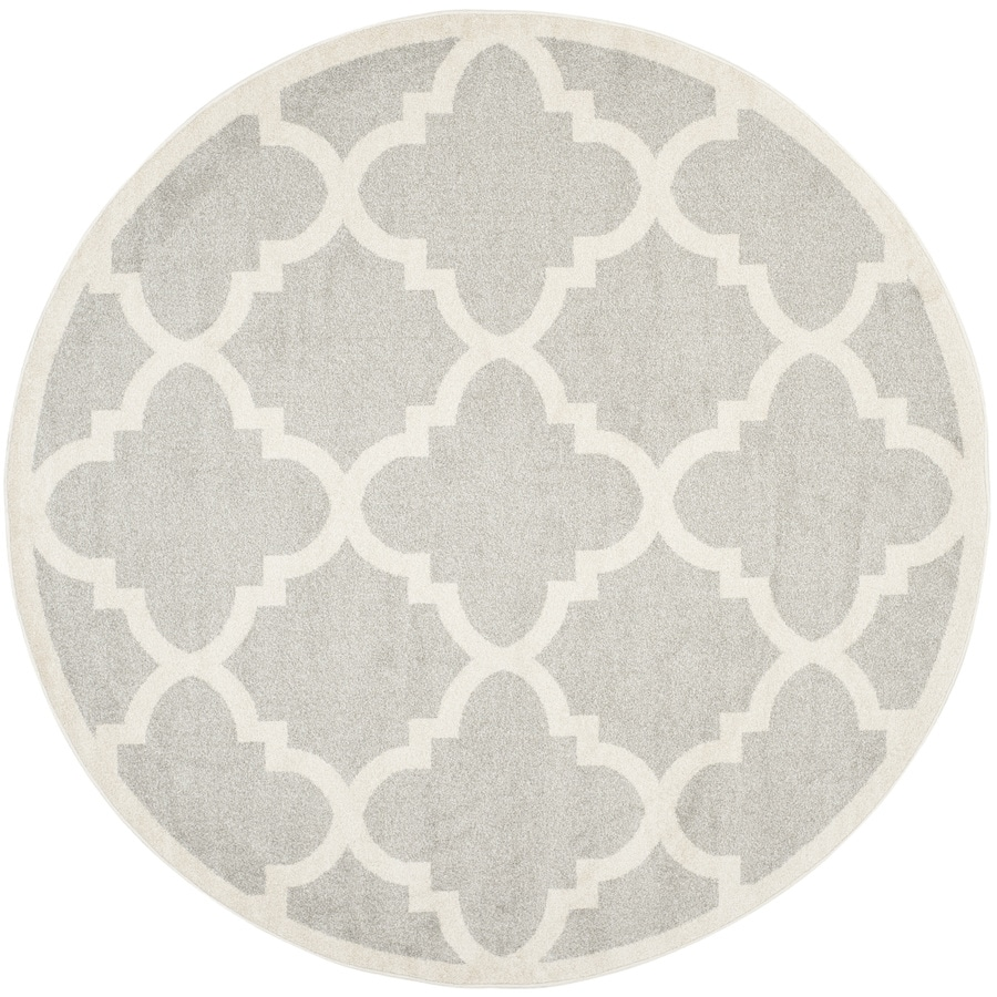Safavieh Amherst Gray/Beige Round Indoor/Outdoor Machine-Made Moroccan Area Rug (Common: 7 x 7; Actual: 7-ft W x 7-ft L x 7-ft dia)