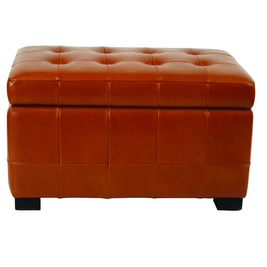 Safavieh Small Manhattan Casual Saddle Faux Leather Storage Ottoman