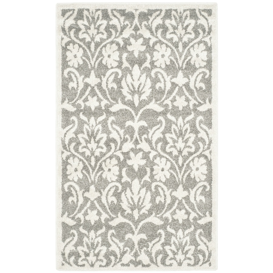Safavieh Amherst Bouquet Dark Gray/Beige Rectangular Indoor/Outdoor Machine-Made Moroccan Throw Rug (Common: 3 x 5; Actual: 3-ft W x 5-ft L)